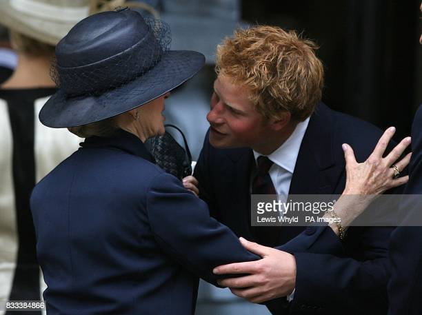 Prince Harry greets Princess Alexandra at the Service of Thanksgiving for the life of Diana Princess of Wales at the Guards' Chapel London PRESS...