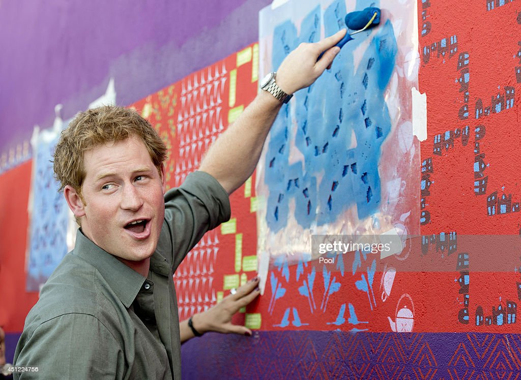 <a gi-track='captionPersonalityLinkClicked' href=/galleries/search?phrase=Prince+Harry&family=editorial&specificpeople=178173 ng-click='$event.stopPropagation()'>Prince Harry</a> has a go at some local artwork during a trip to the Atlantic Rainforest on June 25, 2014 near Sao Paulo, Brazil. <a gi-track='captionPersonalityLinkClicked' href=/galleries/search?phrase=Prince+Harry&family=editorial&specificpeople=178173 ng-click='$event.stopPropagation()'>Prince Harry</a> is on a four day tour of Brazil that will be followed by two days in Chile.