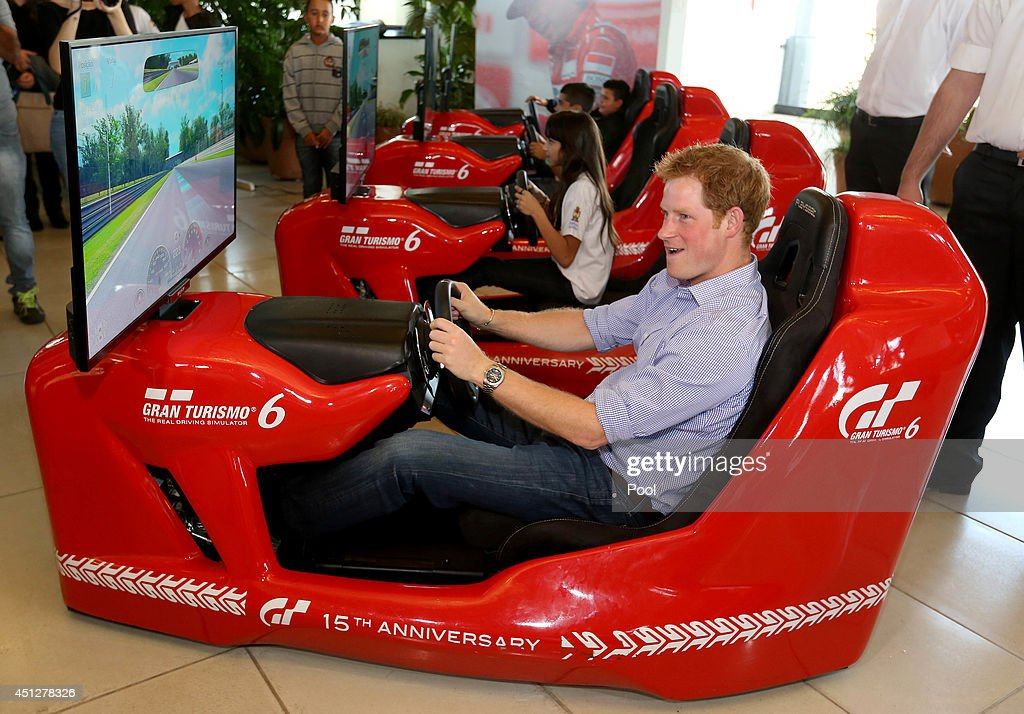 <a gi-track='captionPersonalityLinkClicked' href=/galleries/search?phrase=Prince+Harry&family=editorial&specificpeople=178173 ng-click='$event.stopPropagation()'>Prince Harry</a> has a go on a Formula 1 driving simulator at the Ayrton Senna Institue on June 26, 2014 in Sao Paulo Brazil. <a gi-track='captionPersonalityLinkClicked' href=/galleries/search?phrase=Prince+Harry&family=editorial&specificpeople=178173 ng-click='$event.stopPropagation()'>Prince Harry</a> is on a four day tour of Brazil that will be followed by two days in Chile.