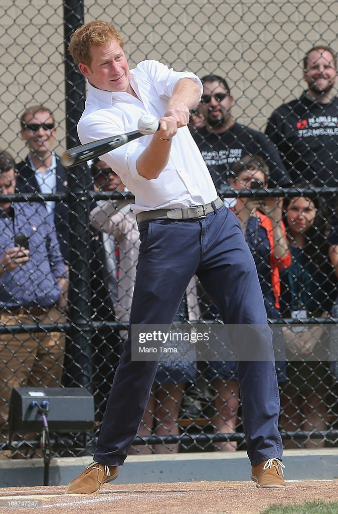 <a gi-track='captionPersonalityLinkClicked' href=/galleries/search?phrase=Prince+Harry&family=editorial&specificpeople=178173 ng-click='$event.stopPropagation()'>Prince Harry</a> hits a baseball while participating in drills at the Harlem RBI baseball youth development program during the fifth day of his visit to the United States on May 14, 2013 in New York City. HRH will be undertaking engagements on behalf of charities with which the Prince is closely associated on behalf also of HM Government, with a central theme of supporting injured service personnel from the UK and US forces.
