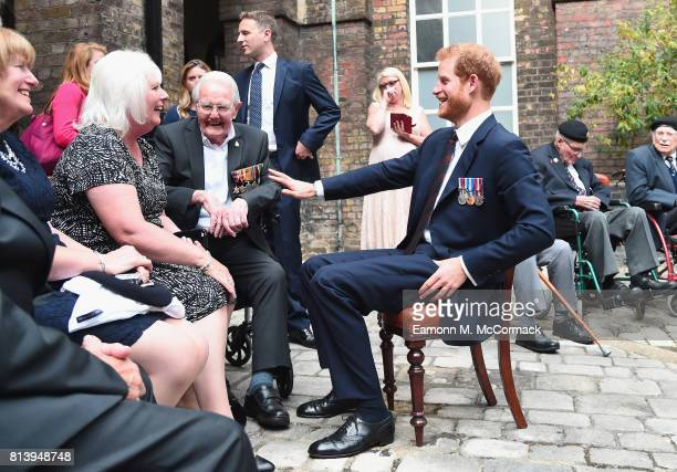 Prince Harry hosts a reception attended by Dunkirk veterans ahead of the 'Dunkirk' World Premiere at Kensington Palace on July 13 2017 in London...