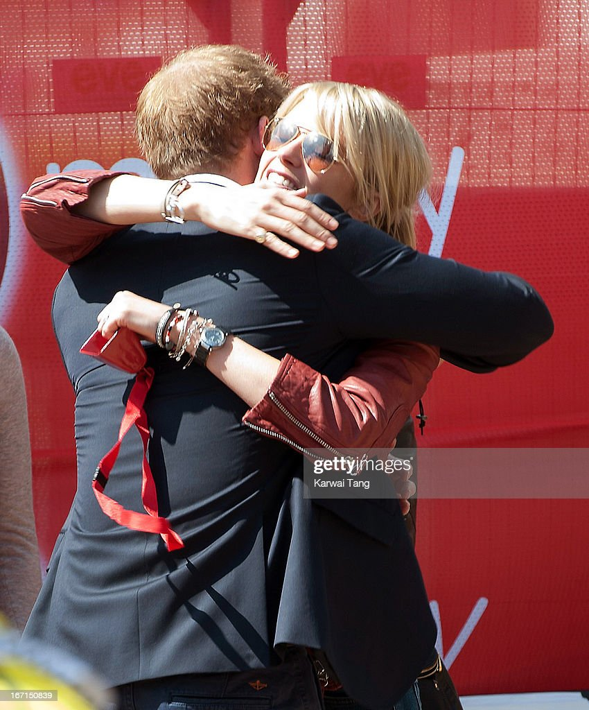 <a gi-track='captionPersonalityLinkClicked' href=/galleries/search?phrase=Prince+Harry&family=editorial&specificpeople=178173 ng-click='$event.stopPropagation()'>Prince Harry</a> hugs Isabella Calthorpe during the Virgin London Marathon on April 21, 2013 in London, England.