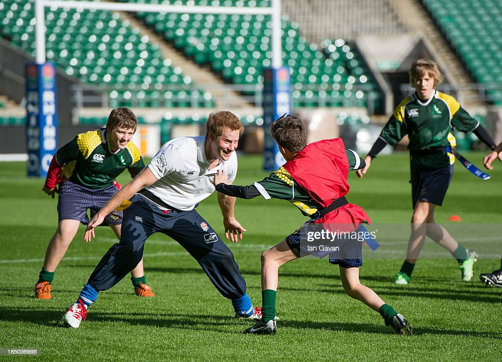 <a gi-track='captionPersonalityLinkClicked' href=/galleries/search?phrase=Prince+Harry&family=editorial&specificpeople=178173 ng-click='$event.stopPropagation()'>Prince Harry</a> in action during his visit to the RFU All School programme coaching event at Twickenham Stadium on October 17, 2013 in London, England.