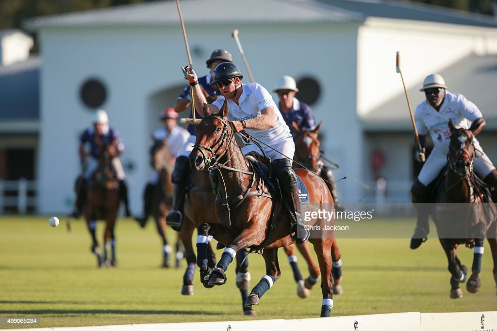 Prince Harry in action during the Sentebale Royal Salute Polo Cup at Val de Vie Estate on November 28 2015 in Paarl South Africa This is the first...