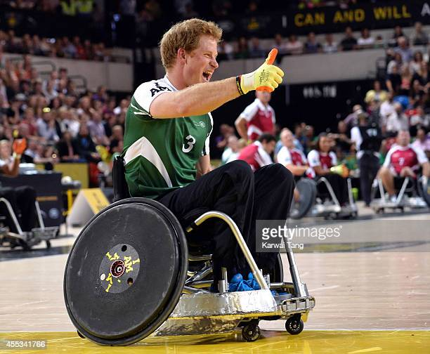 Prince Harry in action today during an exhibition match of wheelchair rugby at the Invictus Games at Copperbox Queen Elizabeth Park on September 12...