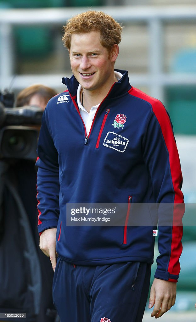 Prince Harry, in his role as Patron of the Rugby Football Union All Schools Programme, arrives to take part in a rugby coaching session at Twickenham Stadium on October 17, 2013 in London, England.