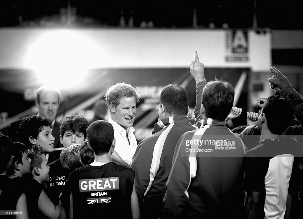 Prince Harry is cheered during a visit to Minas Tenis Clube supporting the UK's GREAT Campaign on June 24, 2014 in Belo Horizonte, Brazil. Prince Harry is on a four day tour of Brazil that will be followed by Two days in Chile.