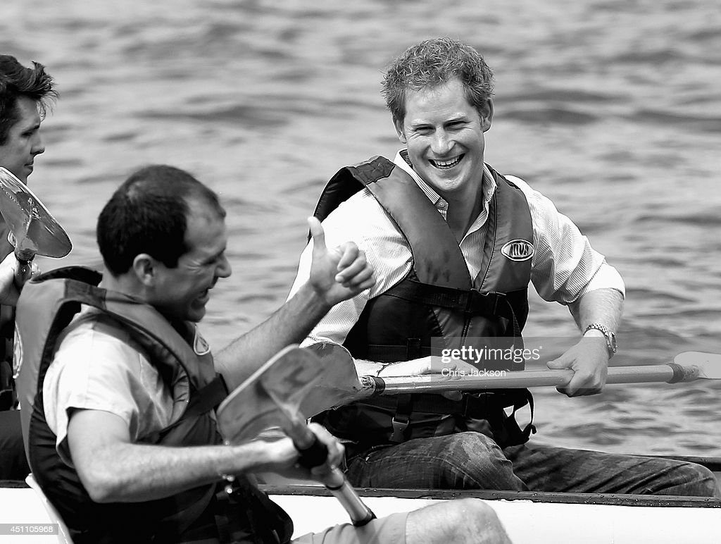 <a gi-track='captionPersonalityLinkClicked' href=/galleries/search?phrase=Prince+Harry&family=editorial&specificpeople=178173 ng-click='$event.stopPropagation()'>Prince Harry</a> is given the thumbs up as he takes part in a 'canoe therapy' session on Lake Paranoa during a visit to the Rede Sarah Hospital for Nerological Rehabilitation injuries on June 23, 2014 in Brasilia, Brazil. <a gi-track='captionPersonalityLinkClicked' href=/galleries/search?phrase=Prince+Harry&family=editorial&specificpeople=178173 ng-click='$event.stopPropagation()'>Prince Harry</a> is on a four day tour of Brazil that will be followed by two days in Chile.