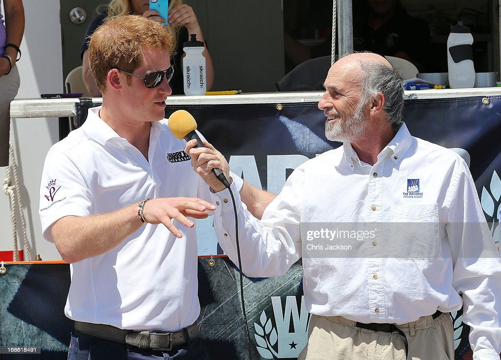 Prince Harry is interviewed as he starts the US airforce training academy hand cycling race at the Warrior Games during the fourth day of his visit to the United States on May 12, 2013 in Colorado Springs, Colorado. HRH will be undertaking engagements on behalf of charities with which the Prince is closely associated on behalf also of HM Government, with a central theme of supporting injured service personnel from the UK and US forces.