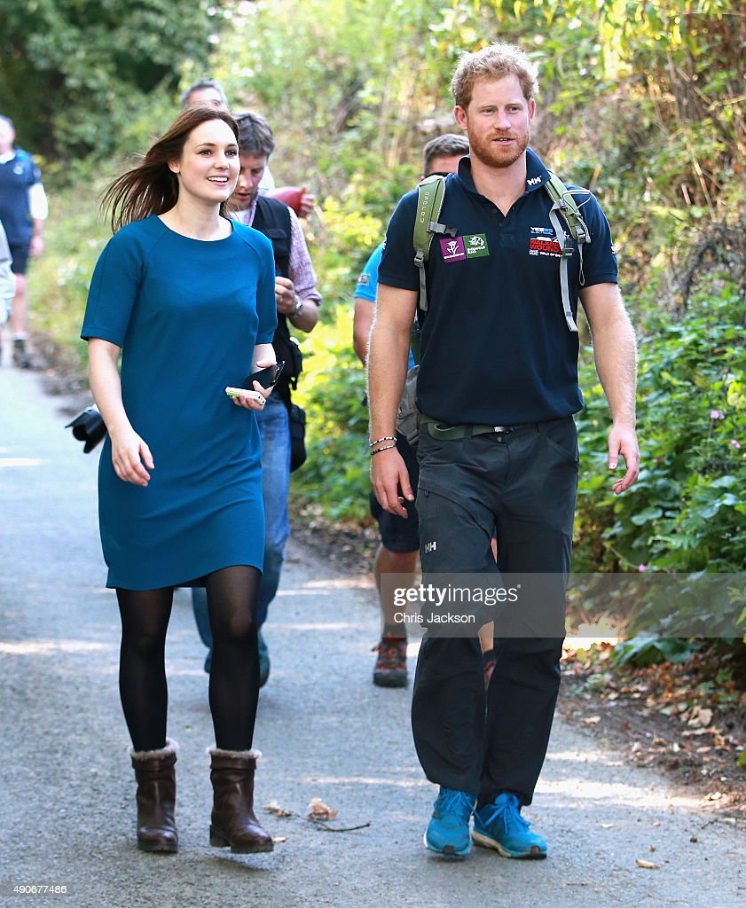 Prince Harry is interviewed by the Mirror Newspaper's Royal Correspondant Victoria Murphy as he walks the route to Ludlow with Walking with the Wounded's Walk of Britain team on September 30, 2015 in Ludlow, England. Prince Harry is patron of the expedition and walked today as part of the veteran's 1000 mile, 72 day expedition through the UK mainland.