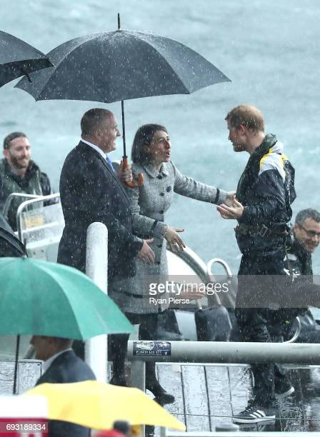 Prince Harry is met by NSW Premier Gladys Berejiklian at Campbells Cove on June 7 2017 in Sydney Australia Prince Harry is on a twoday visit to...
