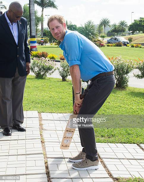 Prince Harry is presented with a bat by Sir Vivian Richards at the Sir Vivian Richards Stadium on the second day of an official visit on November 21...