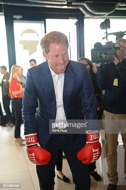 Prince Harry is seen boxing at Queen Elizabeth Olympic Park during the launch of the Heads Together campaign on mental health on May 16 2016 in...