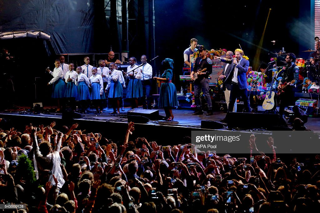 <a gi-track='captionPersonalityLinkClicked' href=/galleries/search?phrase=Prince+Harry&family=editorial&specificpeople=178173 ng-click='$event.stopPropagation()'>Prince Harry</a> is seen on stage with Chis Martin of Coldplay during the final performance at the Sentebale Concert at Kensington Palace on June 28, 2016 in London, England. Sentebale was founded by <a gi-track='captionPersonalityLinkClicked' href=/galleries/search?phrase=Prince+Harry&family=editorial&specificpeople=178173 ng-click='$event.stopPropagation()'>Prince Harry</a> and Prince Seeiso of Lesotho over ten years ago. It helps the vulnerable and HIV positive children of Lesotho and Botswana.