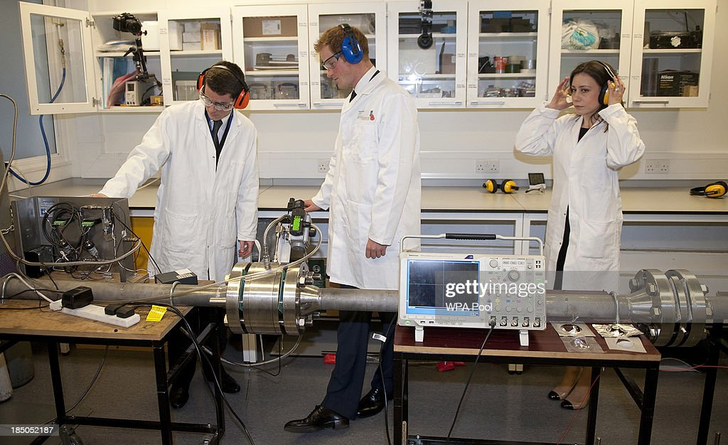 <a gi-track='captionPersonalityLinkClicked' href=/galleries/search?phrase=Prince+Harry&family=editorial&specificpeople=178173 ng-click='$event.stopPropagation()'>Prince Harry</a> is shown around the the 'Shock Tube' Laboratory, where he was shown simulations of blast shockwaves and their effects on cells by Dr James Wilgeroth (L) during the official opening of the Royal British Legion Centre for Blast Injury Studies at Imperial College London on October 17 in London, England.