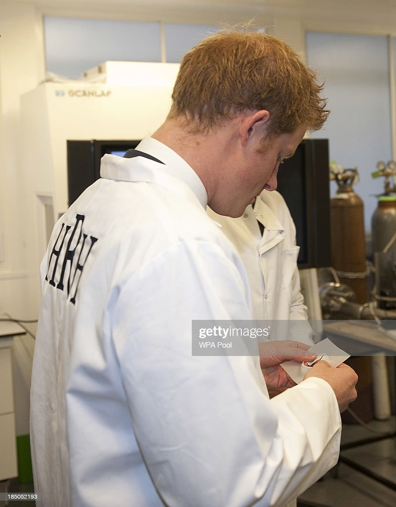<a gi-track='captionPersonalityLinkClicked' href=/galleries/search?phrase=Prince+Harry&family=editorial&specificpeople=178173 ng-click='$event.stopPropagation()'>Prince Harry</a> is shown around the the 'Shock Tube' Laboratory, where he was shown simulations of blast shockwaves and their effects on cells during the official opening of the Royal British Legion Centre for Blast Injury Studies at Imperial College London on October 17 in London, England.