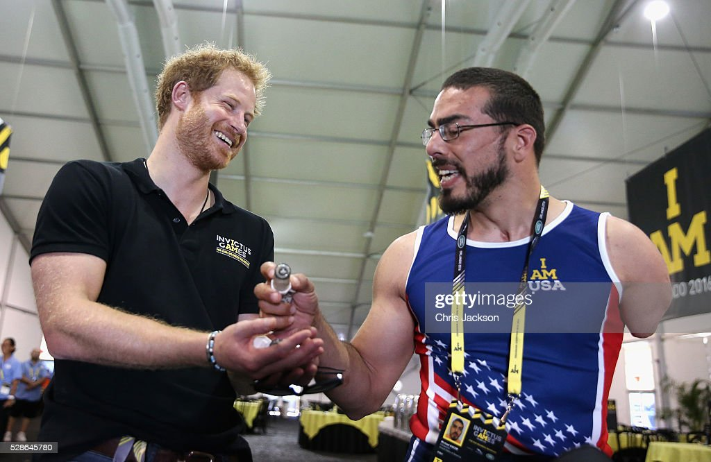 Prince Harry is shown contact lenses used by Team USA Athlete Michael Kacer ahead of Invictus Games Orlando 2016 at ESPN Wide World of Sports on May 6, 2016 in Orlando, Florida. Prince Harry, patron of the Invictus Games Foundation is in Orlando ahead of the opening of Invictus Games which will open on Sunday. The Invictus Games is the only International sporting event for wounded, injured and sick servicemen and women. Started in 2014 by Prince Harry the Invictus Games uses the power of Sport to inspire recovery and support rehabilitation.