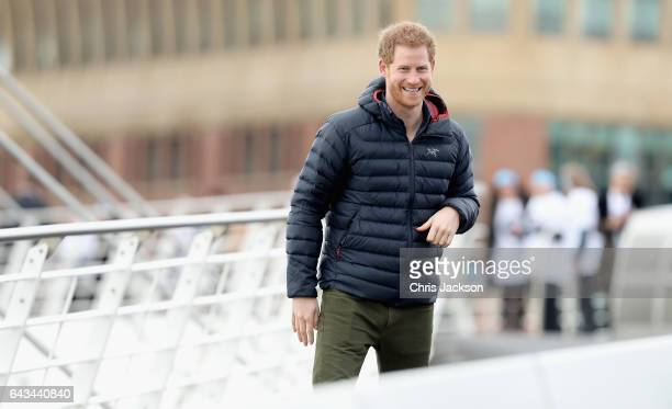 Prince Harry join Team Heads Together runners at the Quayside for a marathon training session on February 21 2017 in Newcastle United Kingdom