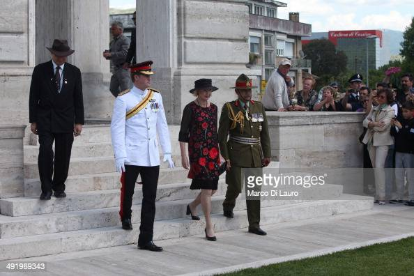 Prince Harry Lady Janine Mateparae and Governor General of New Zealand Jerry Mateparae arrive at the Commonwealth War Graves Commission Cassino War...