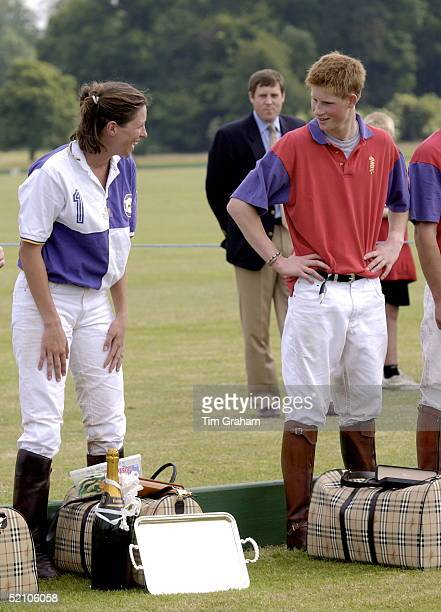 Prince Harry Laughing With Tamara Vestey As They Were Receiving Prizes At A Polo Match Prince Harry's Team Lost He Was Given A Burberry Bag As A...