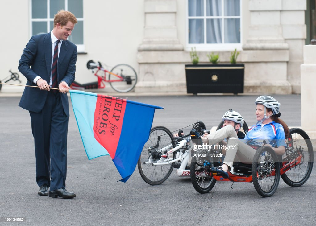 Prince Harry launches the Hero Ride charity race during a visit to the Help the Heroes Recovery Centre at Tedworth House on May 20, 2013 in Tidworth, England.
