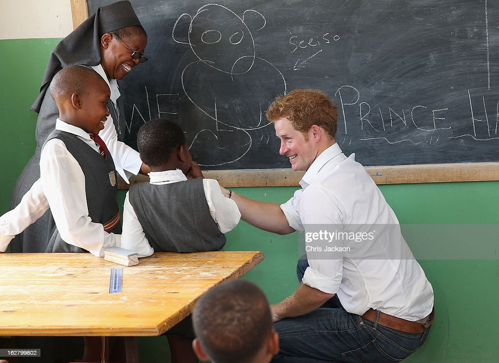 <a gi-track='captionPersonalityLinkClicked' href=/galleries/search?phrase=Prince+Harry&family=editorial&specificpeople=178173 ng-click='$event.stopPropagation()'>Prince Harry</a> learns sign language as he visits the Kananelo Centre for the deaf, a project supported by his charity Sentebale on February 27, 2013 in Maseru, Lesotho. Sentebale is a charity founded by <a gi-track='captionPersonalityLinkClicked' href=/galleries/search?phrase=Prince+Harry&family=editorial&specificpeople=178173 ng-click='$event.stopPropagation()'>Prince Harry</a> and Prince Seeiso of Lesotho. It helps the most vulnerable children in Lesotho get the support they need to lead healthy and productive lives. Sentebale works with local grassroots organisations to help these children, the victims of extreme poverty and Lesotho's HIV/AIDS epidemic. Cathy Ferrier was appointed as Sentebale's Chief Executive in March 2012 and is spearheading a fundraising initiative to build the Mamohato Centre which will provide psychosocial support for children and young people infected with HIV. <a gi-track='captionPersonalityLinkClicked' href=/galleries/search?phrase=Prince+Harry&family=editorial&specificpeople=178173 ng-click='$event.stopPropagation()'>Prince Harry</a> is due to pay a visit to Lesotho this week to catch up on his charity's progress and meet key children who will be supported by the charity.