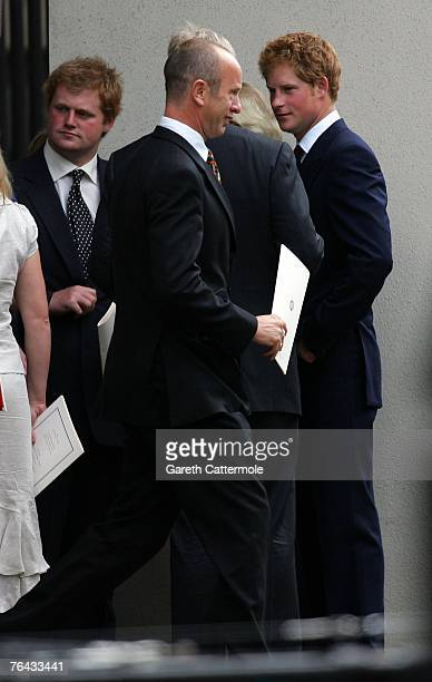 Prince Harry leaves the 10th anniversary memorial service for Diana Princess Of Wales held at the Guards Chapel on August 31 2007 in London England...