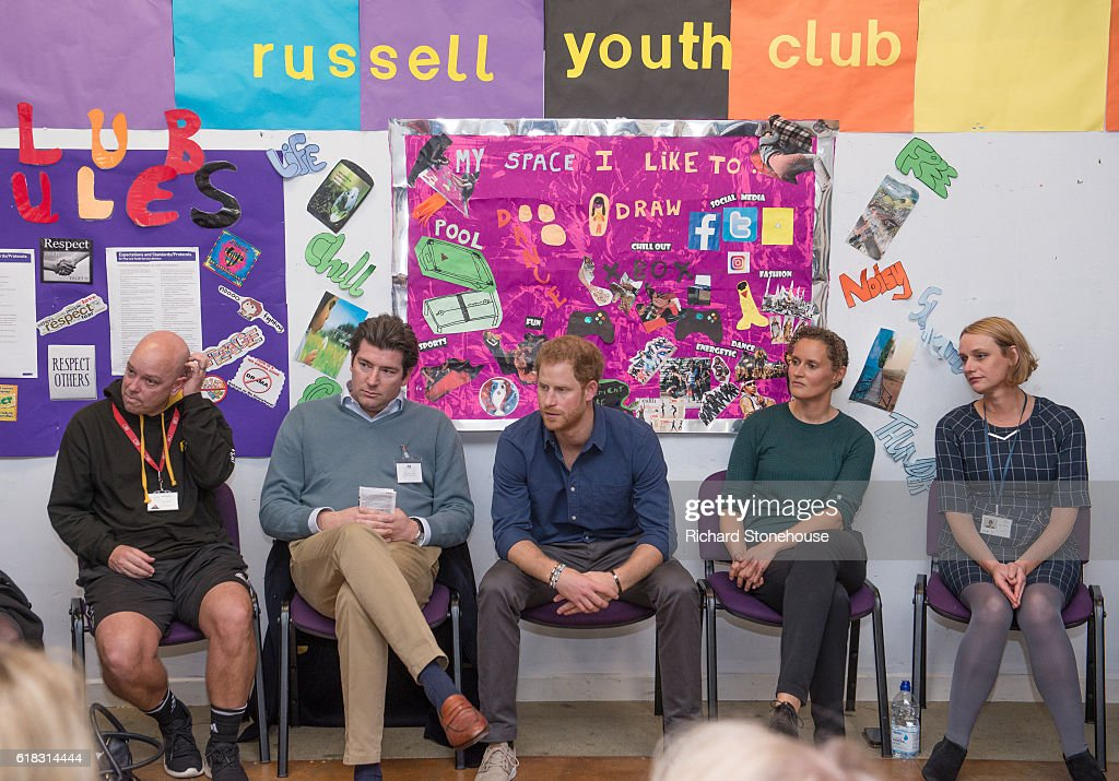 Prince Harry listens to how the projects are progressing from volunteers and sponsors during his visit the Community Recording Studio at Russell Youth Centre on October 26, 2016 in Nottingham, United Kingdom. The Royal Foundation is working with Epic Partners and the Community Recording Studio (CRS) to deliver Full Effect: a project to improve the opportunities for young people and reduce youth violence in St. Ann's, Nottingham.