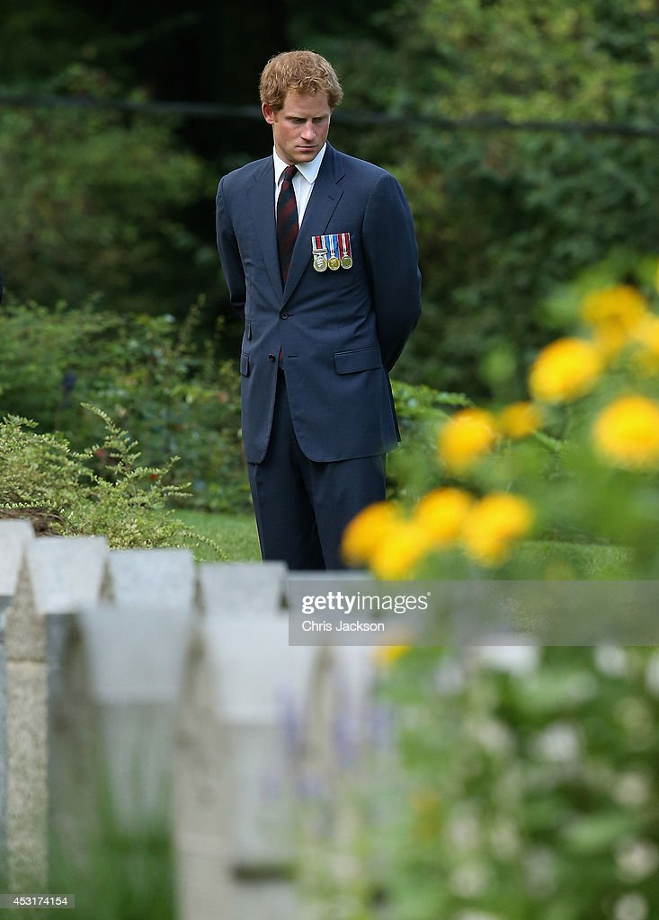 <a gi-track='captionPersonalityLinkClicked' href=/galleries/search?phrase=Prince+Harry&family=editorial&specificpeople=178173 ng-click='$event.stopPropagation()'>Prince Harry</a> looks at war graves at St Symphorien Military Cemetery on August 4, 2014 in Mons, Belgium. Monday 4th August marks the 100th Anniversary of Great Britain declaring war on Germany. In 1914 British Prime Minister Herbert Asquith announced at 11pm that Britain was to enter the war after Germany had violated Belgium's neutrality. The First World War or the Great War lasted until 11 November 1918 and is recognised as one of the deadliest historical conflicts with millions of casualties. A series of events commemorating the 100th Anniversary are taking place throughout the day.