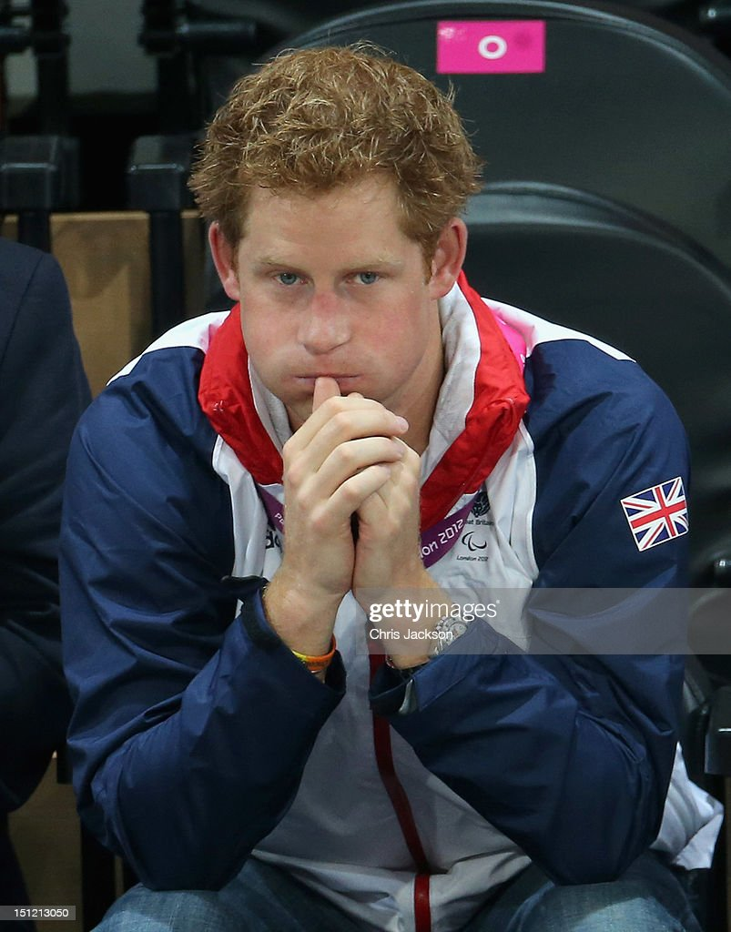 <a gi-track='captionPersonalityLinkClicked' href=/galleries/search?phrase=Prince+Harry&family=editorial&specificpeople=178173 ng-click='$event.stopPropagation()'>Prince Harry</a> looks on as he attends the Goalball on day 6 of the London 2012 Paralympic Games at The Copper Box on September 4, 2012 in London, England.