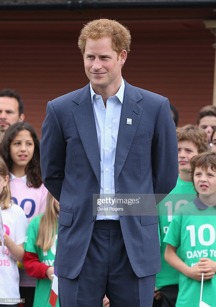 Prince Harry looks on at the Launch of the Rugby World Cup Trophy Tour at Twickenham Stadium on June 10, 2015 in London, England.