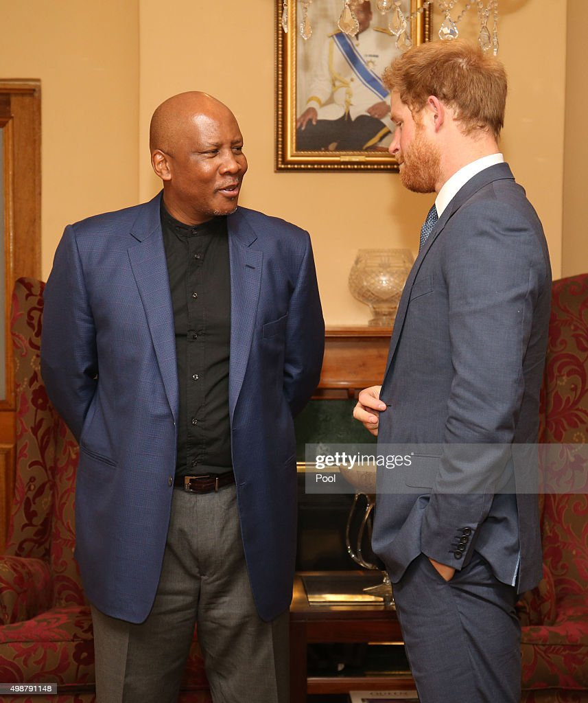 Prince Harry makes a courtesy call on King Letsie III at the King's palace as he begins his visit to the region where he will name two buildings at the heart of his charity's new landmark centre on November 26, 2015 in Maeru, Lesotho, Sentebale. Lesotho's Prince Seeiso co-founded Sentebale with Harry in 2006, and the new facility is named after his mother Queen Mamohato but also recognises the Princess of Wales.
