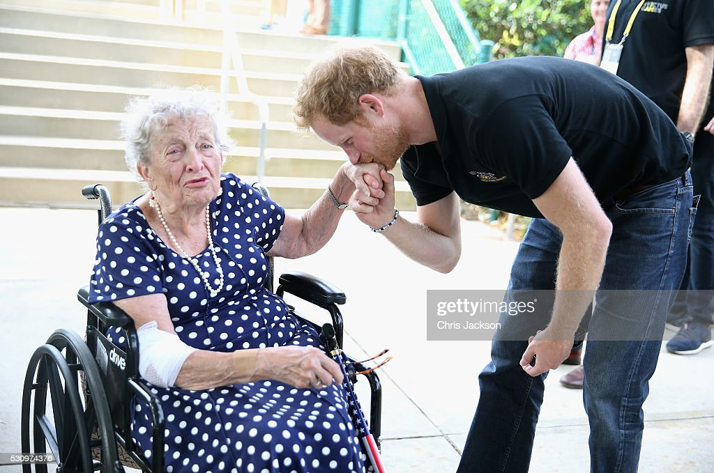 Prince Harry meets 95 year old Ruth Uffleman at the wheelchair tennis on the final day of the Invictus Games Orlando 2016 at ESPN Wide World of Sports on May 12, 2016 in Orlando, Florida. Prince Harry, patron of the Invictus Games Foundation is in Orlando for the Invictus Games 2016. The Invictus Games is the only International sporting event for wounded, injured and sick servicemen and women. Started in 2014 by Prince Harry the Invictus Games uses the power of Sport to inspire recovery and support rehabilitation.