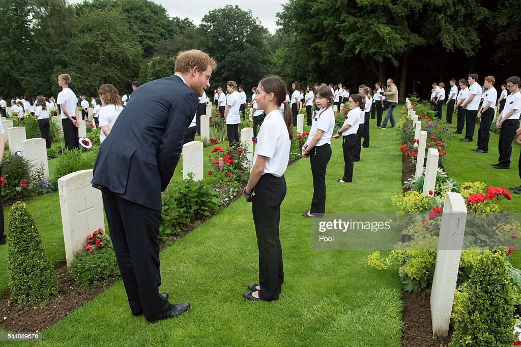 <a gi-track='captionPersonalityLinkClicked' href=/galleries/search?phrase=Prince+Harry&family=editorial&specificpeople=178173 ng-click='$event.stopPropagation()'>Prince Harry</a> meets British and French school children during the Commemoration of the Centenary of the Battle of the Somme at the Commonwealth War Graves Commission Thiepval Memorial on July 1, 2016 in Thiepval, France. The event is part of the Commemoration of the Centenary of the Battle of the Somme at the Commonwealth War Graves Commission Thiepval Memorial in Thiepval, France, where 70,000 British and Commonwealth soldiers with no known grave are commemorated.