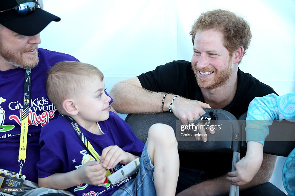Prince Harry meets children from 'Give Kids the World Village' as he visits venues ahead of Invictus Games Orlando 2016 at ESPN Wide World of Sports on May 6, 2016 in Orlando, Florida. Prince Harry, patron of the Invictus Games Foundation is in Orlando ahead of the opening of Invictus Games which will open on Sunday. The Invictus Games is the only International sporting event for wounded, injured and sick servicemen and women. Started in 2014 by Prince Harry, the Invictus Games uses the power of Sport to inspire recovery and support rehabilitation.