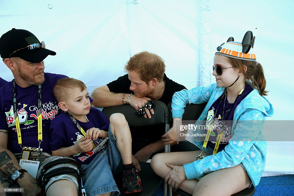 Prince Harry meets children from 'Give Kids the World Village' as he visits venues ahead of Invictus Games Orlando 2016 at ESPN Wide World of Sports on May 6, 2016 in Orlando, Florida. Prince Harry, patron of the Invictus Games Foundation is in Orlando ahead of the opening of Invictus Games which will open on Sunday. The Invictus Games is the only International sporting event for wounded, injured and sick servicemen and women. Started in 2014 by Prince Harry the Invictus Games uses the power of Sport to inspire recovery and support rehabilitation.