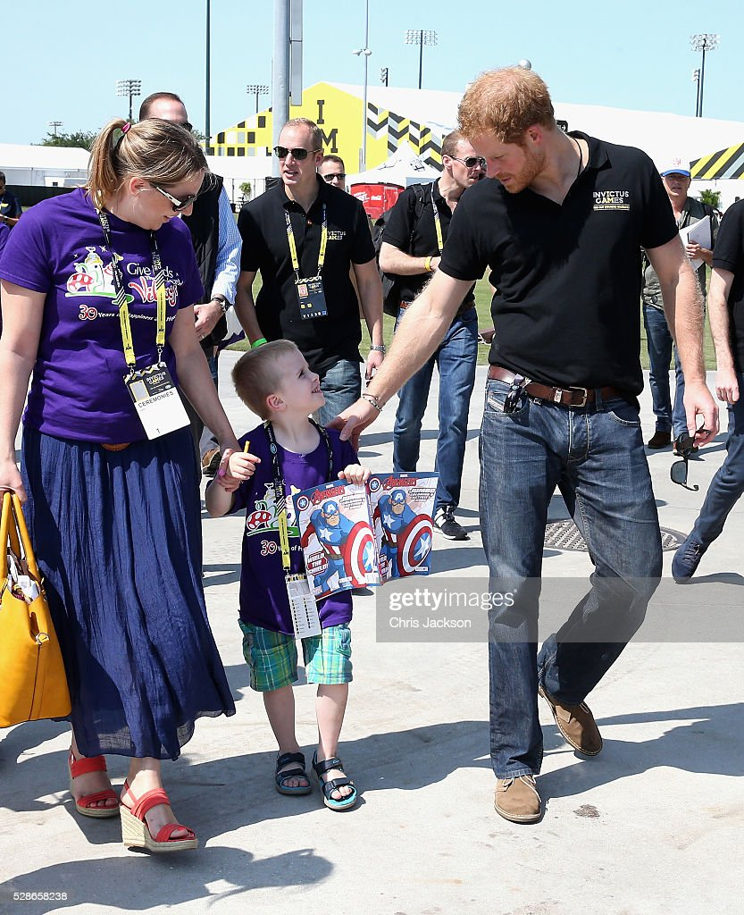 Prince Harry meets children from the charity for sick children 'Give Kids the World Village' as he visits venues ahead of Invictus Games Orlando 2016 at ESPN Wide World of Sports on May 6, 2016 in Orlando, Florida. Prince Harry, patron of the Invictus Games Foundation is in Orlando ahead of the opening of Invictus Games which will open on Sunday. The Invictus Games is the only International sporting event for wounded, injured and sick servicemen and women. Started in 2014 by Prince Harry the Invictus Games uses the power of Sport to inspire recovery and support rehabilitation.