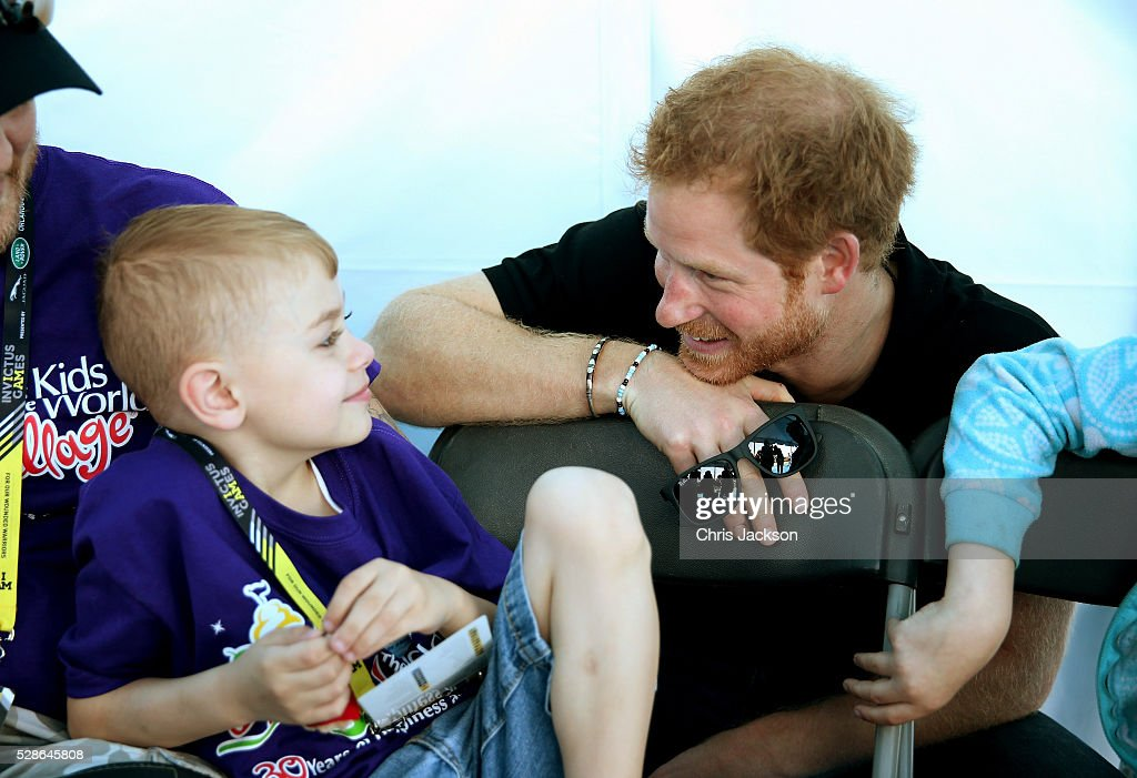 Prince Harry meets children from the charity 'Give Kids the World Village' as he visits venues ahead of Invictus Games Orlando 2016 at ESPN Wide World of Sports on May 6, 2016 in Orlando, Florida. Prince Harry, patron of the Invictus Games Foundation is in Orlando ahead of the opening of Invictus Games which will open on Sunday. The Invictus Games is the only International sporting event for wounded, injured and sick servicemen and women. Started in 2014 by Prince Harry the Invictus Games uses the power of Sport to inspire recovery and support rehabilitation.