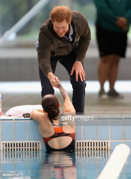 Prince Harry meets Invictus Games competitors at the Olympic Aquatic Centre in Homebush on June 8 2017 in Sydney Australia Prince Harry is on a...