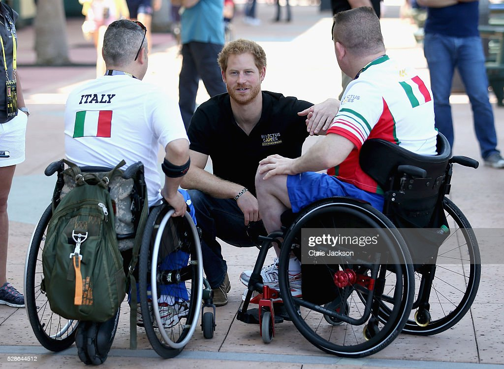 Prince Harry meets Italian athletes as he visits venues ahead of Invictus Games Orlando 2016 at ESPN Wide World of Sports on May 6, 2016 in Orlando, Florida. Prince Harry, patron of the Invictus Games Foundation is in Orlando ahead of the opening of Invictus Games which will open on Sunday. The Invictus Games is the only International sporting event for wounded, injured and sick servicemen and women. Started in 2014 by Prince Harry, the Invictus Games uses the power of Sport to inspire recovery and support rehabilitation.
