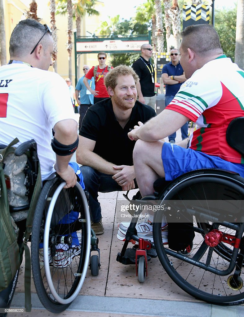 Prince Harry meets Italian athletes as he visits venues ahead of Invictus Games Orlando 2016 at ESPN Wide World of Sports on May 6, 2016 in Orlando, Florida. Prince Harry, patron of the Invictus Games Foundation is in Orlando ahead of the opening of Invictus Games which will open on Sunday. The Invictus Games is the only International sporting event for wounded, injured and sick servicemen and women. Started in 2014 by Prince Harry the Invictus Games uses the power of Sport to inspire recovery and support rehabilitation.
