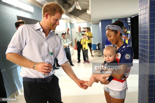 Prince Harry meets Jonathon Sawyer7 at the Swimming Finals during Day Seven of the Invictus Games 2017 at Toronto Pan Am Sports Centre on September...
