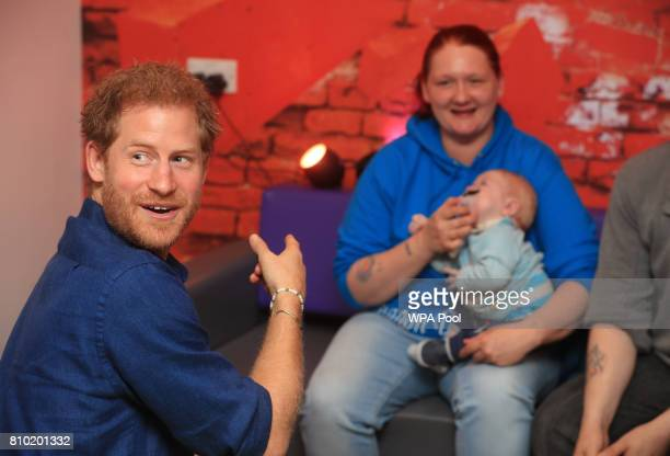 Prince Harry meets Lewis Maloy and his mother KerryAnne Rhodes visit to Leeds Children's Hospital during an official visit to Leeds on July 7 2017 in...