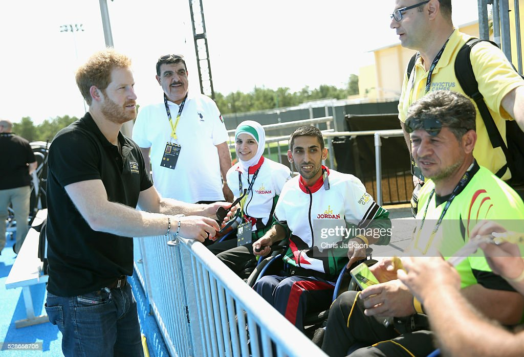 Prince Harry meets members of the Jordanian Team as he visits venues ahead of Invictus Games Orlando 2016 at ESPN Wide World of Sports on May 6, 2016 in Orlando, Florida. Prince Harry, patron of the Invictus Games Foundation is in Orlando ahead of the opening of Invictus Games which will open on Sunday. The Invictus Games is the only International sporting event for wounded, injured and sick servicemen and women. Started in 2014 by Prince Harry the Invictus Games uses the power of Sport to inspire recovery and support rehabilitation.