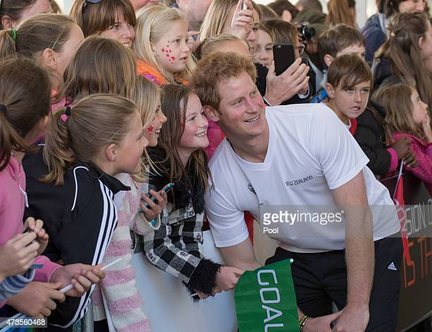 Prince Harry meets members of the public at an event to promote the 2015 FIFA U20 World Cup which will be hosted by New Zealand at The Cloud on...