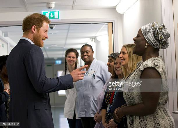 Prince Harry meets nursing staff during his visit to Mildmay hospital a dedicated HIV hospital to mark the opening of the new purpose built facility...