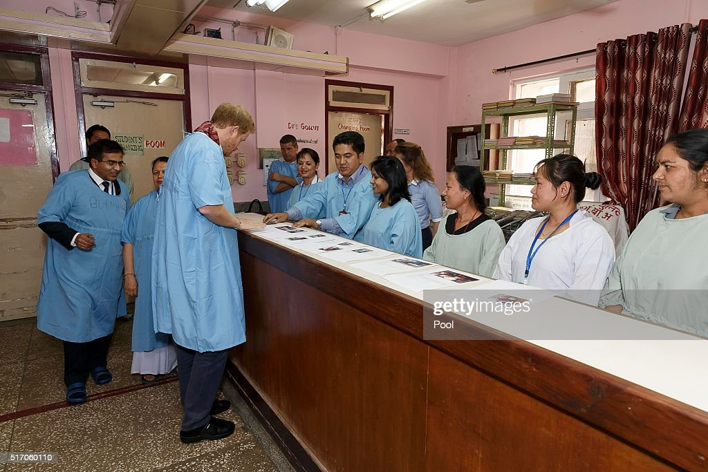 Prince Harry meets staff at Kanti Children's Hospital in Kathmandu Nepal on the final day of his tour of the country on March 23 2016 in Kathmandu...