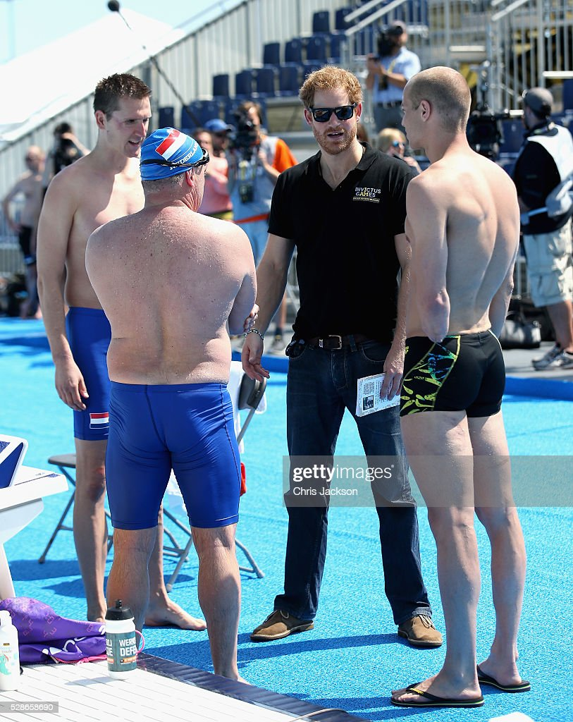 Prince Harry meets swimming athletes ahead of Invictus Games Orlando 2016 at ESPN Wide World of Sports on May 6, 2016 in Orlando, Florida. Prince Harry, patron of the Invictus Games Foundation is in Orlando ahead of the opening of Invictus Games which will open on Sunday. The Invictus Games is the only International sporting event for wounded, injured and sick servicemen and women. Started in 2014 by Prince Harry the Invictus Games uses the power of Sport to inspire recovery and support rehabilitation.