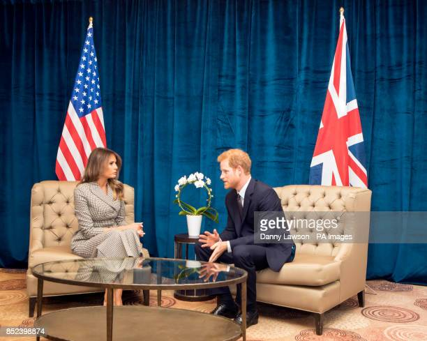 Prince Harry meets the First Lady of the United States Melania Trump ahead of the start of the 2017 Invictus Games in Toronto Canada