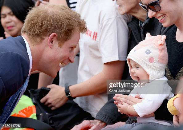 Prince Harry meets the people of Christchurch after visiting the 'Quake City' Museum on May 12 2015 in Christchurch New Zealand Prince Harry is in...